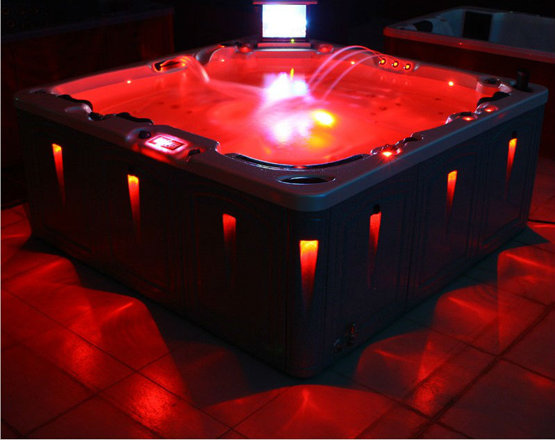 luxurious outdoor swimming led light spa pool with TV