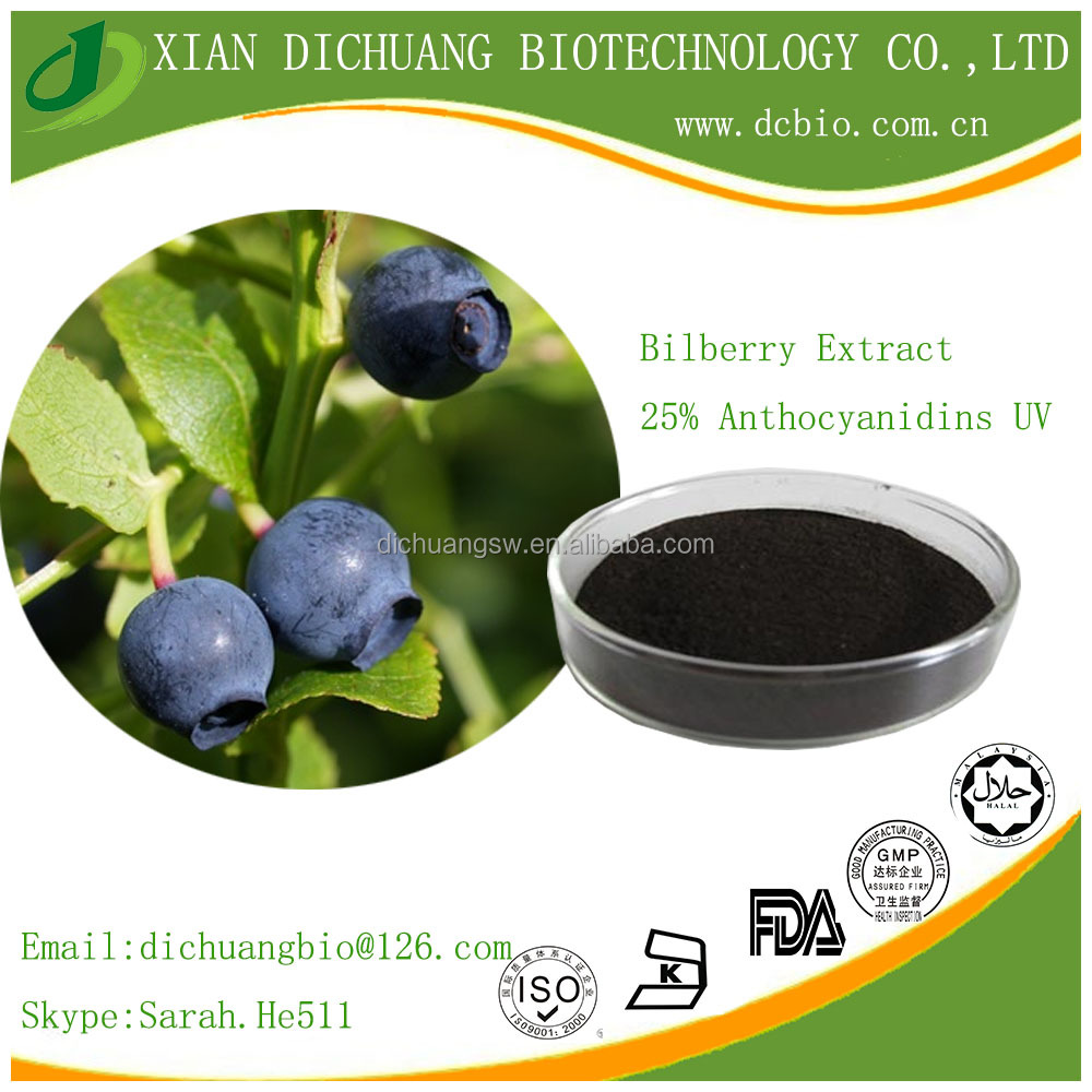 Best quality 25% anthocyanins HPLC/bilberry extract powder in health and medical