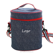 Durable Polyester Round Lunch Bag With Shoulder Strap