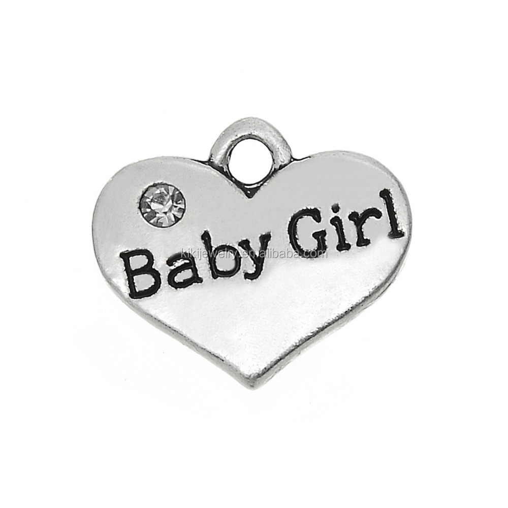 Handmade Metal Alloy Heart Shape Crystal Engraved Baby Girl Pendant