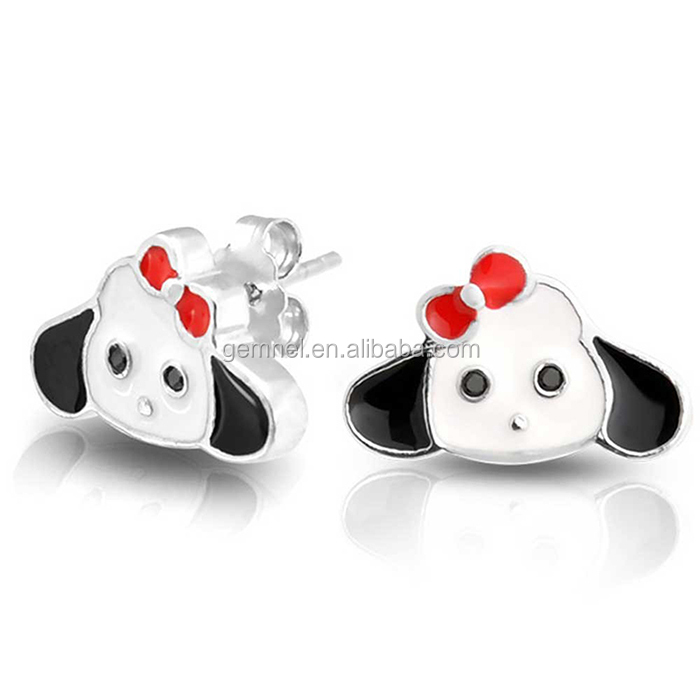 Gemnel jewelery 925 sterling silver cute dog enamel stud earring for kids