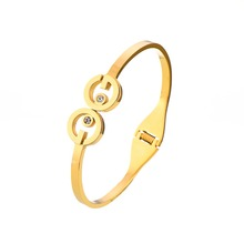 Fashion Trend Stainless Steel Yellow Gold Special H Shaped Crystal Bangles