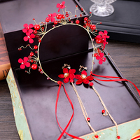 Wholesale Headband Hair Accessories Flower Red Bridal Headband Ear Clip for Wedding Dress