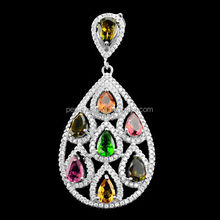 PES Fine Jewelry! Pear Chrome Diopside Multi Color Tourmaline White CZ Pendant Necklace (PES3-1119)