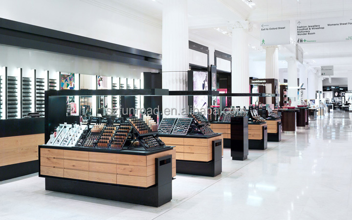 Famous brand makeup products display fittings cosmetic store glass floor displays