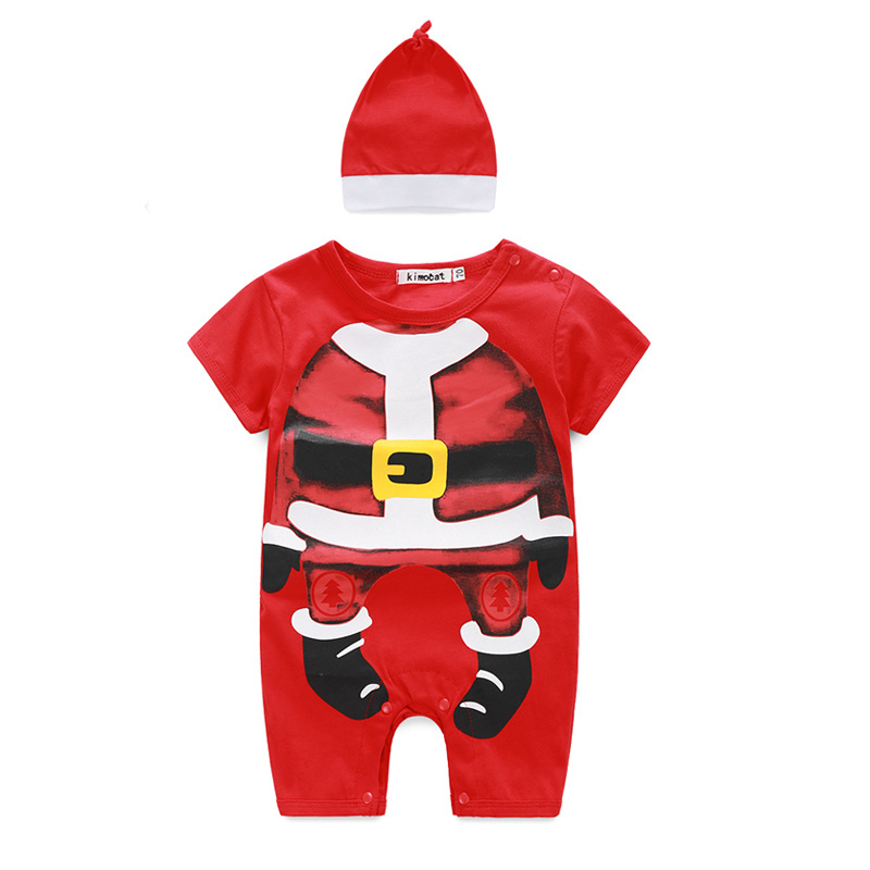 2016 Newest Christmas Newbaby Baby Romper Baby Boys Red Coverall Romper With Hat wholesale