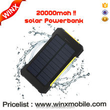 WINX product.20000mAh solar Power Bank Dual USB waterproof baterry external Portable Solar Panel with Compass LED light