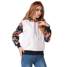 Women Flower Hoodies Warm Cotton Sweatshirt High Quality