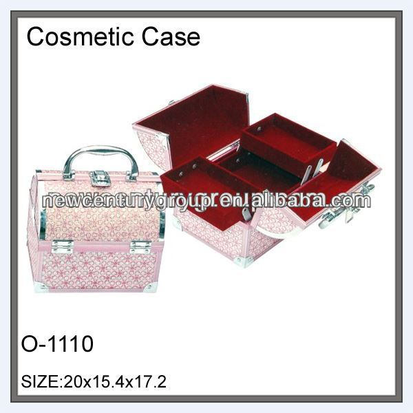 3 layers round top wood cosmetics box case