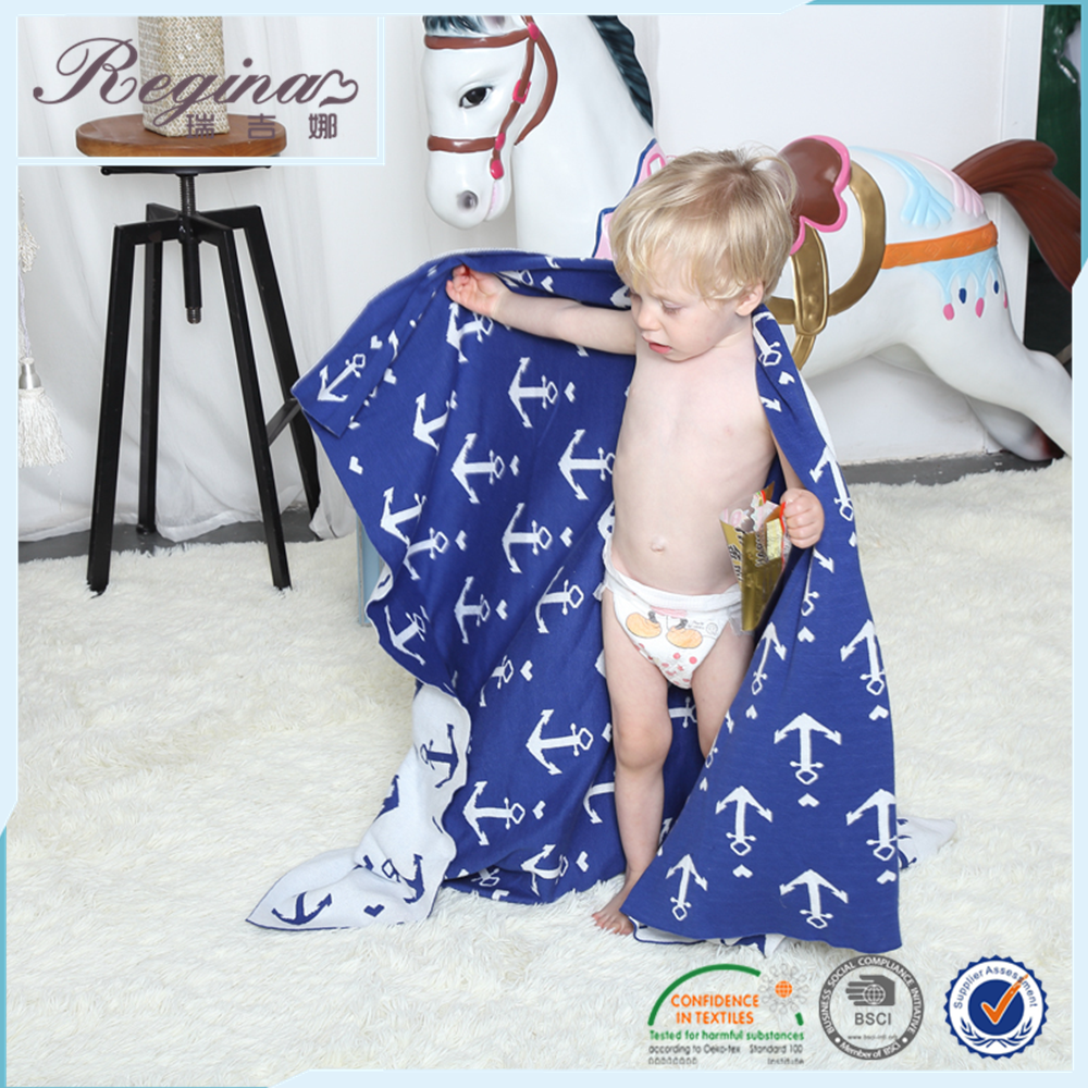 cotton children navy style knitted crochet organic cotton baby blanket
