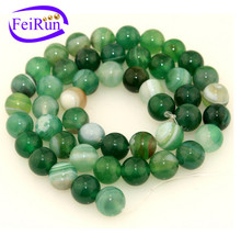 4 6 8 10 12mm wholesale semi gemstone green stripe agate strand