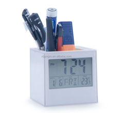 Penholder with photo frame insert clock