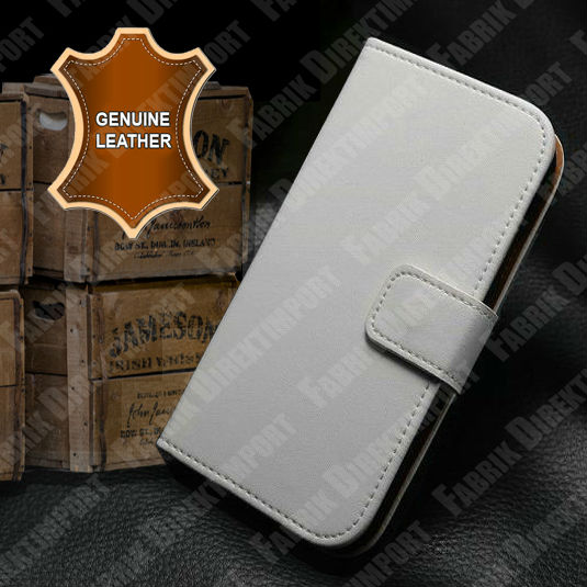 Real Genuine Leather Flip Case Cover Pouch Sleeve Bumper for iPhone 5 5S White