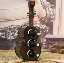 antique guitar cello shaped wood wine rack