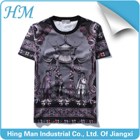 2016 men HD printing comfortable fabric silk covered cotton short sleeve T-shirt