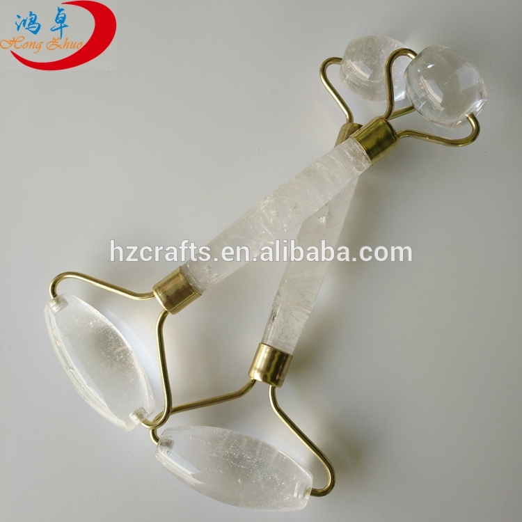 Clear quartz massage roller handle roller massager for promotion for Facial Massage