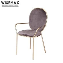 Antique Reproduction furniture pink velvet brushed brass stainless steel Stay Dining Chair with arms