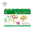 Hot selling diy puzzle 84pcs rainbow twisting torsion bar kids learning toys for sales