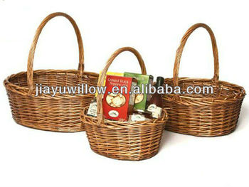 Hot sale Willow Oval vegetable Baskets with handles