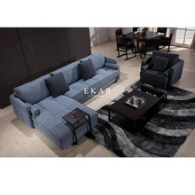 Living Room Furniture 6 Seater Wooden Fabric Sofa Set Design
