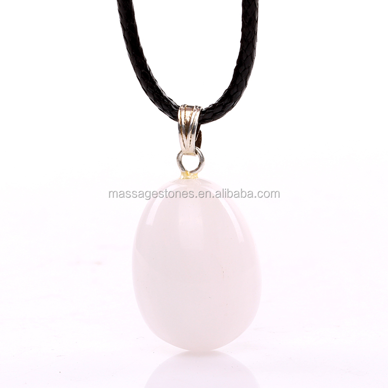Natural handmade white jade stone polished egg carving stone