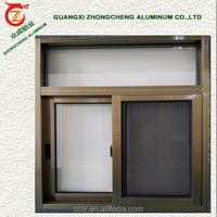 Hot products standard size aluminum alloy frame material sliding doors and glass windows for toilet window with security grille
