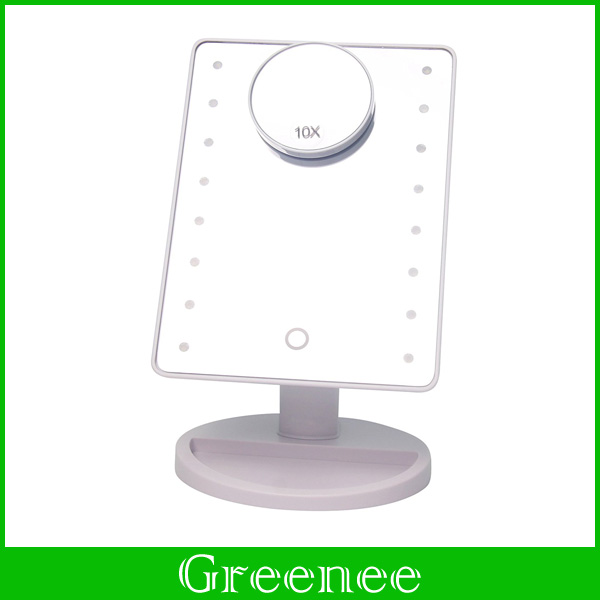 White 16 LED Battery Operated Cordless Touch Screen Lighted Vanity Cosmetic Make Up Mirror with LED Lights Spot Mirror