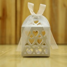 heart shape Laser cut paper party favor boxes wedding candy box