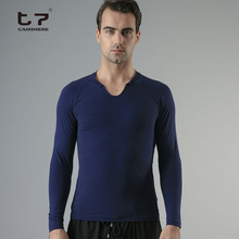 Mens gentle soft fashion autunm thermal silk cashmere long shirt