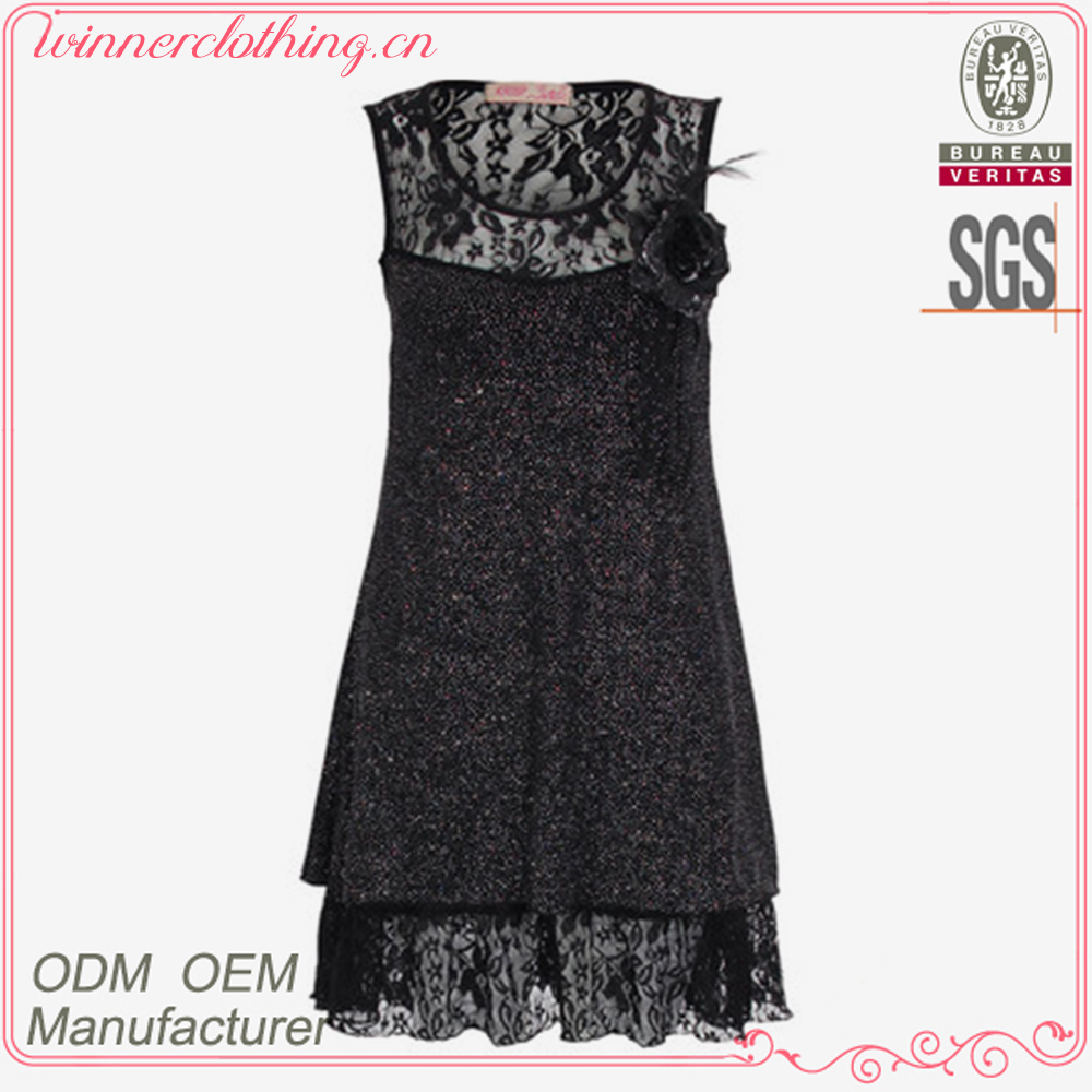 Endless Fashion Black Lace Flower Embellished Cocktail Dress