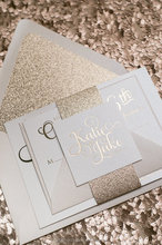 Gold Glitter Foil Printing Wedding Invitations With Lined Envelope