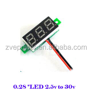 "2.5v - 30V DC Digital Voltmeter 2wires 0.28 ""LED With Reverse Connection Protect red/blue/green/yellow for optional"