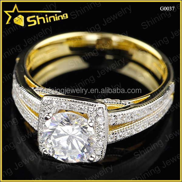 Testing quality moissanite 14k gold plated 925 silver diamond ring