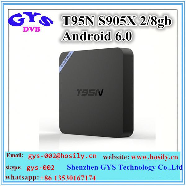 Best selling tv box android 6.0 2GB DDR3 RAM 8GB NAND ROM T95N Amlogic S905X Android tv box T95N mini m8s pro