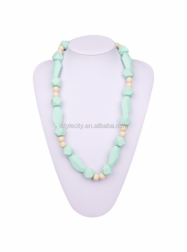Modern style newest best quality fashion silicon teething bead necklaces