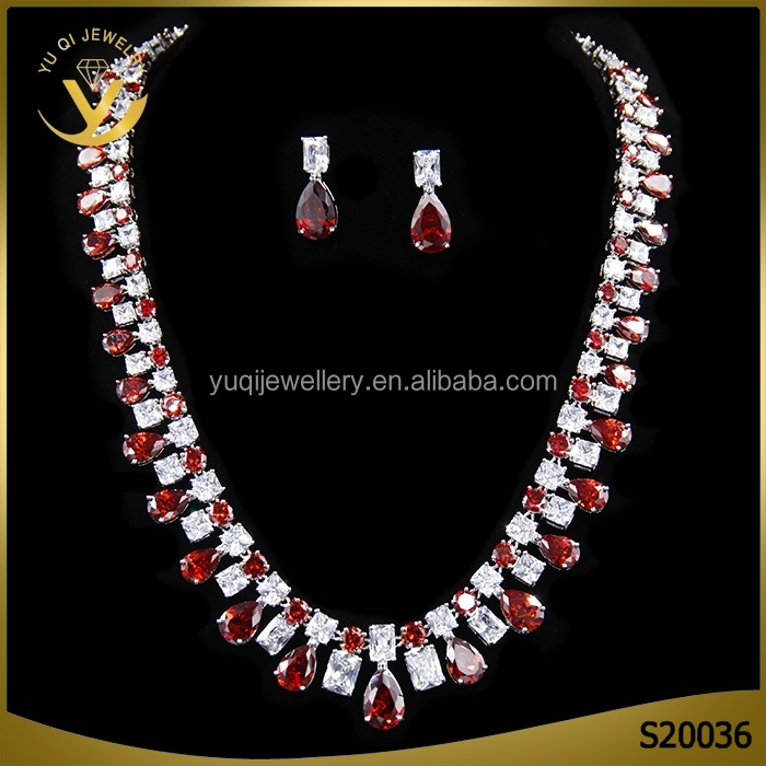 Red crystal wedding jewellery, 2016 fashoin gemstone costume jewelry set