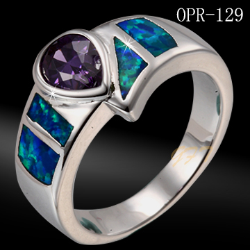 Nickel and lead free 925 sterling silver blue opal power ring for men