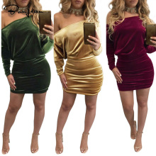 Velvet Dress Sexy Spring Long Batwing Sleeve Asymmetrical Sheath Mini Dress Women Hot Sale Clothing