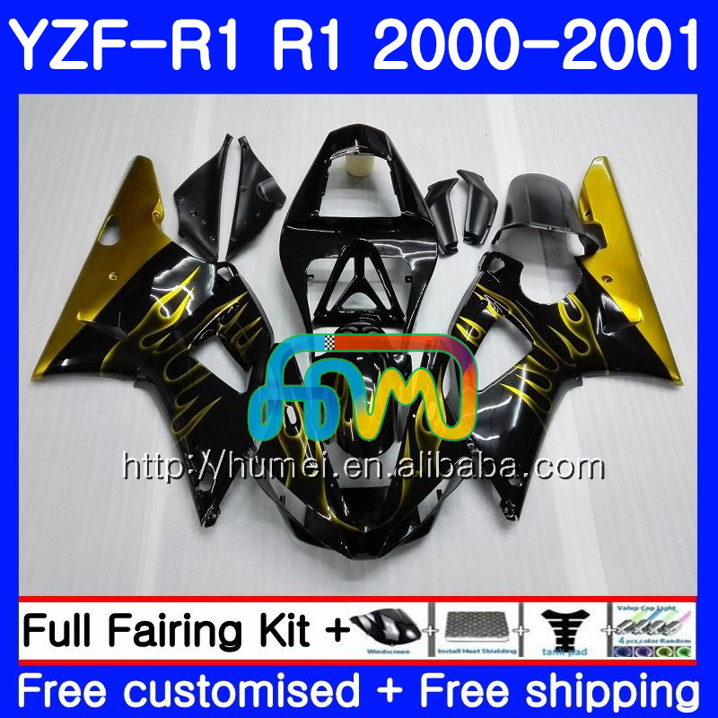 Bodywork For YAMAHA Gold flames YZF 1000 YZF-<strong>R1</strong> 2000 <strong>2001</strong> Body 98HM30 YZF1000 YZF R 1 YZFR1 00 01 YZF-1000 YZF <strong>R1</strong> 00 01 <strong>Fairing</strong>