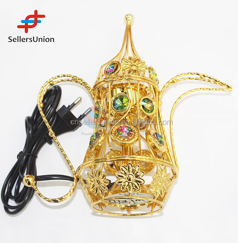No.1 Yiwu agent commission sourcing agent Golden teapot shaped decoration incense burner with handle