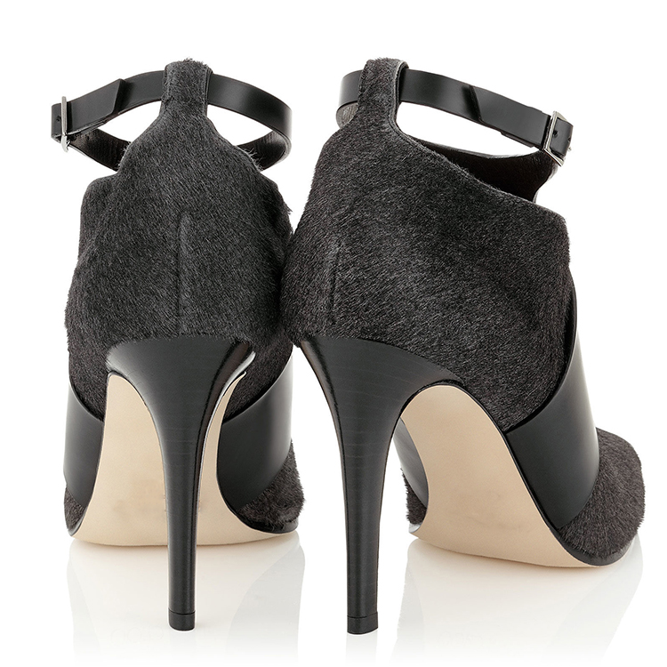 Suede and Horse hair Upper with Sexy Buckle Straps Elegant Women Boots High Heel