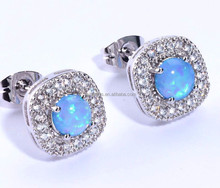 .925 Sterling Silver Earrings White CZ Cubic Zirconia Opal Cluster Stud Earrings For Children & Women