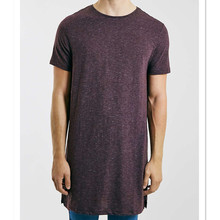 burgundy super long line plain t-shirts