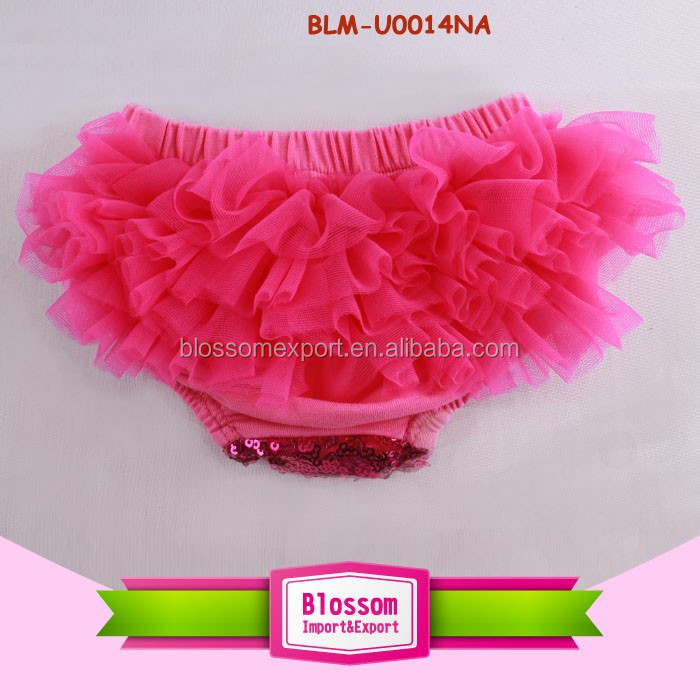 Newborn ruffle panties diaper cover baby cotton boutique chiffon shorts & pants wholesale baby shiny sequin bloomers solid color