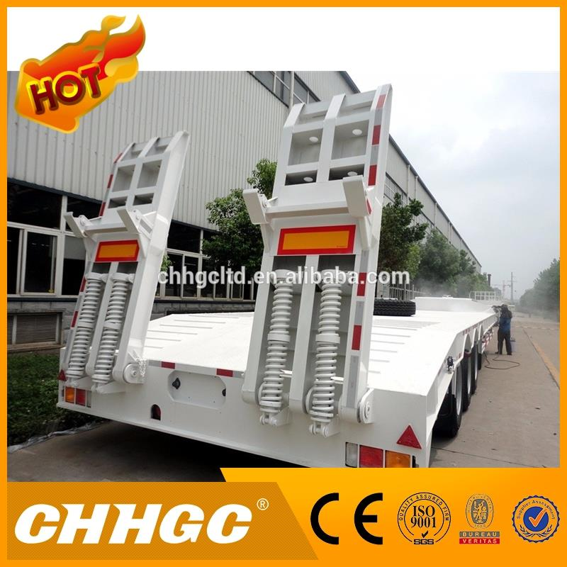 Professional 100tons lowbed semi trailer, 3 axles lowbed semi trailer, hydraulic boat trailer