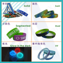 Solid, swirl, segmented, dual, luminous mixed rubber bracelets for adults