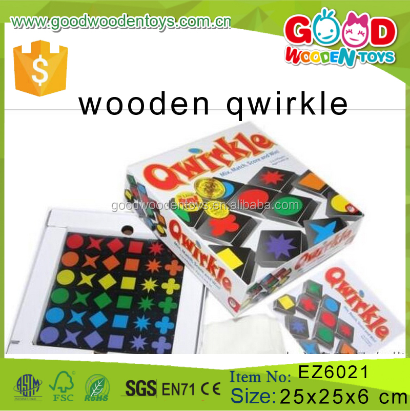 Classical Product Children Learning Board Game Educational Wooden Qwirkle Toy for Kids