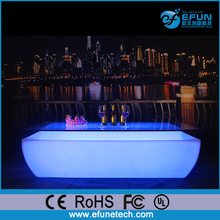 remote control rgb color changing battery operated plastic led illuminated rectangle bar table with glass top