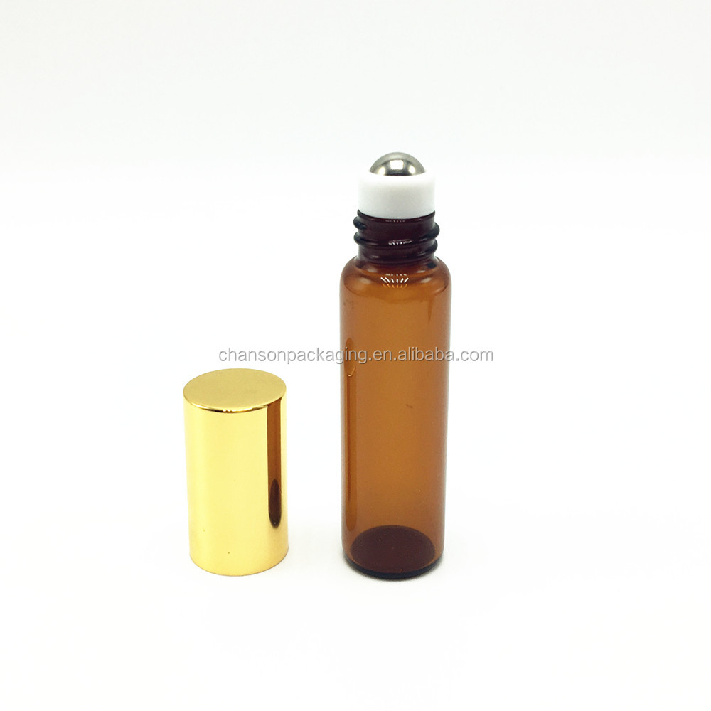 Wholesale 5ml cosmetic roll on tube bottle amber essential oil bottles with stainless roll on