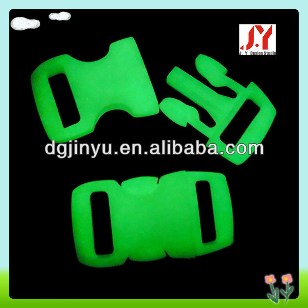 small buckle glow in the dark ,plastic side release quick clip for paracord bracelet & dog collar